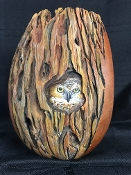 Carved Bark with Peek-a-boo Owl